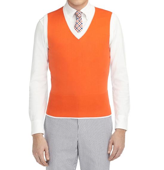 Thom Browne Coral-White Color-Block Sweater Vest NEW Size US M / EU 48-50 / 2 - 4