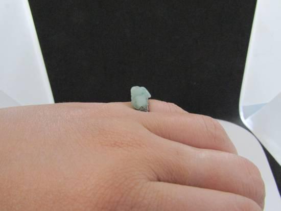Handmade Green Jade Tibetan Silver Ring - size 5.75 Size ONE SIZE - 3