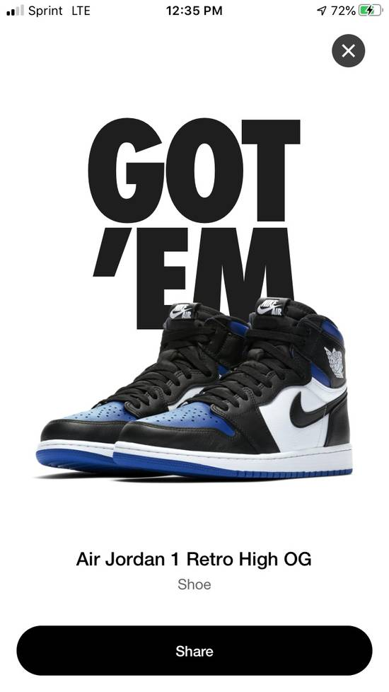 Nike Air Jordan 1 Retro High OG Royal Toe Size US 9 / EU 42 - 1