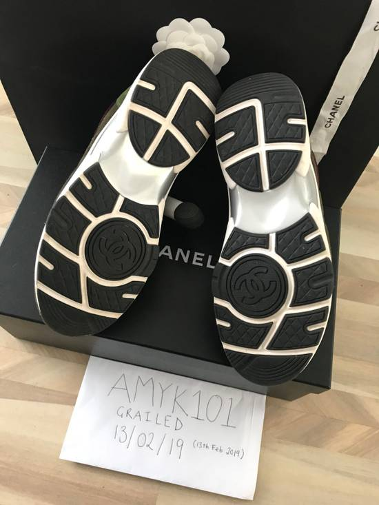 Chanel Classic Chanel CC Logo Suede Sneaker - Green Size US 7 / EU 40 - 6