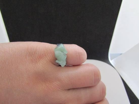 Handmade Green Jade Tibetan Silver Ring - size 5.75 Size ONE SIZE - 2