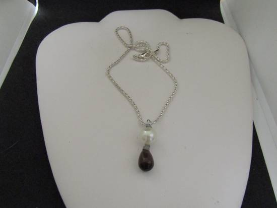 Handmade Black Cat eye Crystal Chain Necklace with Pearl Bead Size ONE SIZE