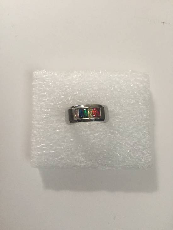 Handmade Rainbow cz stainless steel ring - US size 11.5 Size ONE SIZE