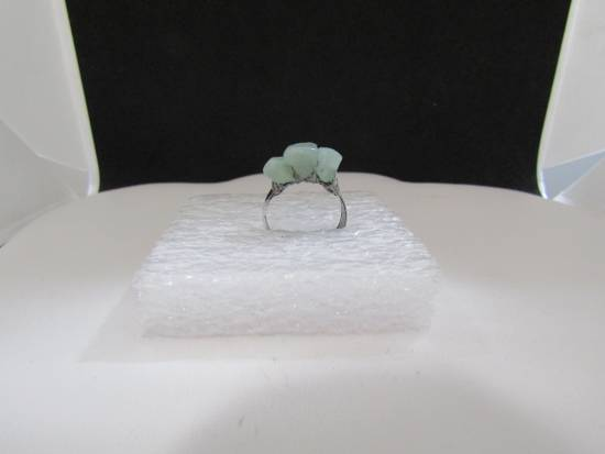 Handmade Green Jade Tibetan Silver Ring - size 5.75 Size ONE SIZE - 1