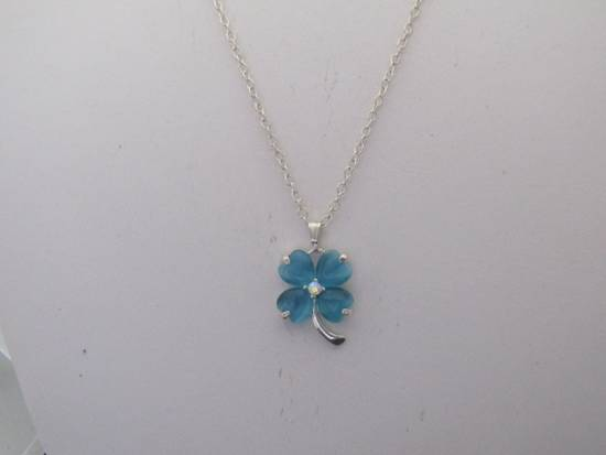 Handmade Blue Lucky Leaf Chain Necklace Size ONE SIZE - 1