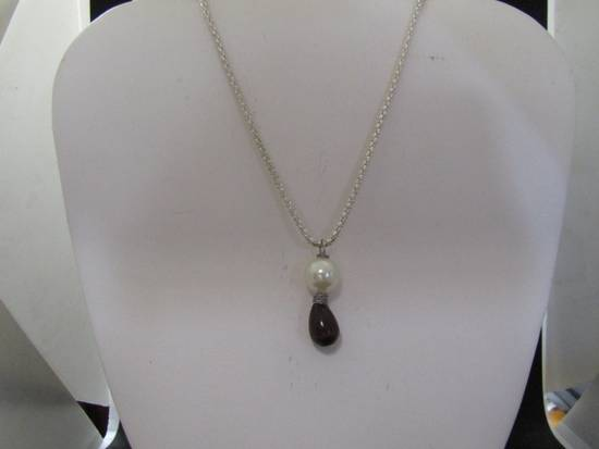 Handmade Black Cat eye Crystal Chain Necklace with Pearl Bead Size ONE SIZE - 1