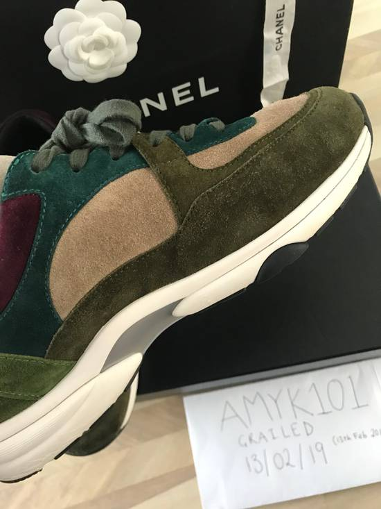 Chanel Classic Chanel CC Logo Suede Sneaker - Green Size US 7 / EU 40 - 1