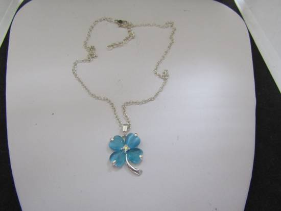 Handmade Blue Lucky Leaf Chain Necklace Size ONE SIZE