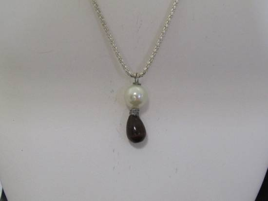 Handmade Black Cat eye Crystal Chain Necklace with Pearl Bead Size ONE SIZE - 3