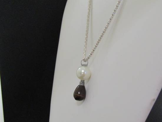 Handmade Black Cat eye Crystal Chain Necklace with Pearl Bead Size ONE SIZE - 2