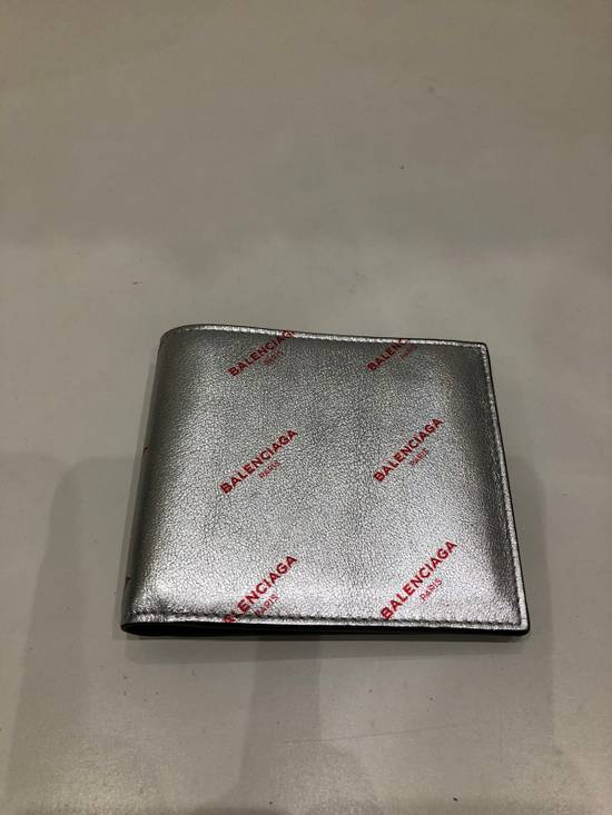 Balenciaga Silver square wallet with all over red logo Size ONE SIZE