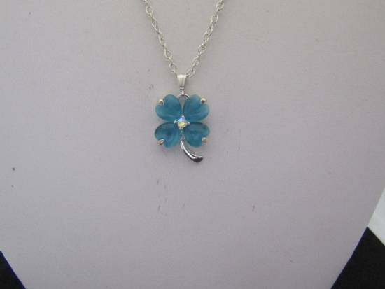 Handmade Blue Lucky Leaf Chain Necklace Size ONE SIZE - 3