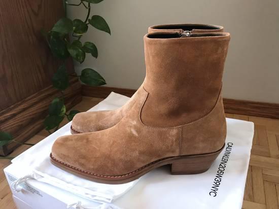Raf Simons EU43 - Caramel Brown Calf Leather Suede Western Boots - SS18 Size US 10 / EU 43 - 5