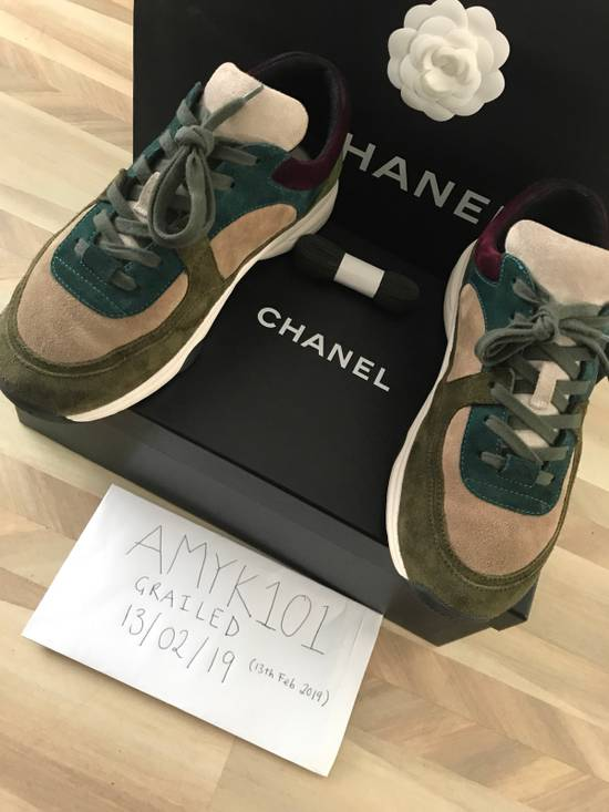 Chanel Classic Chanel CC Logo Suede Sneaker - Green Size US 7 / EU 40
