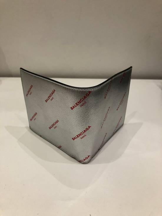 Balenciaga Silver square wallet with all over red logo Size ONE SIZE - 1