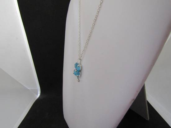 Handmade Blue Lucky Leaf Chain Necklace Size ONE SIZE - 2
