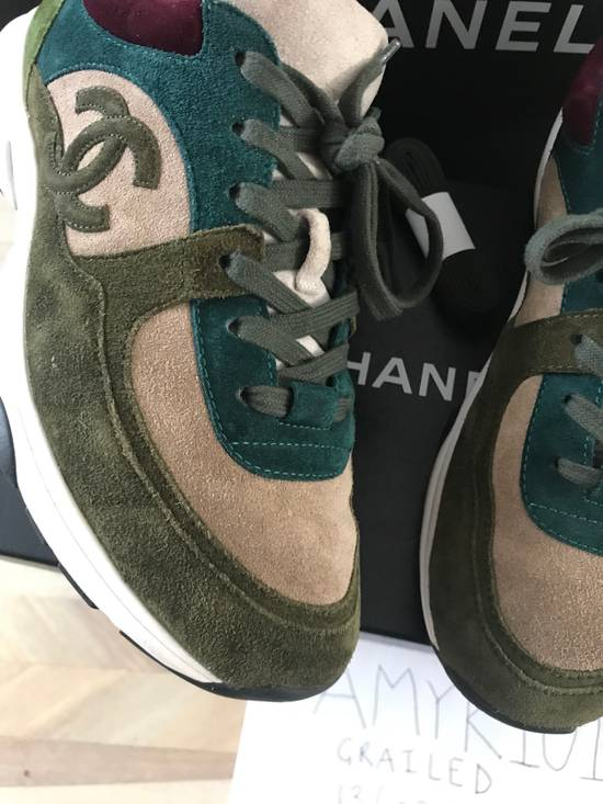 Chanel Classic Chanel CC Logo Suede Sneaker - Green Size US 7 / EU 40 - 3