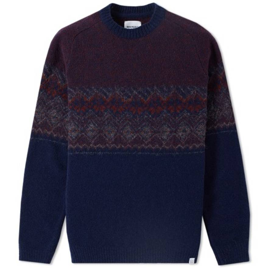 Norse Projects Birnir Fair Isle Sweater (Navy) Size s - Sweaters ...
