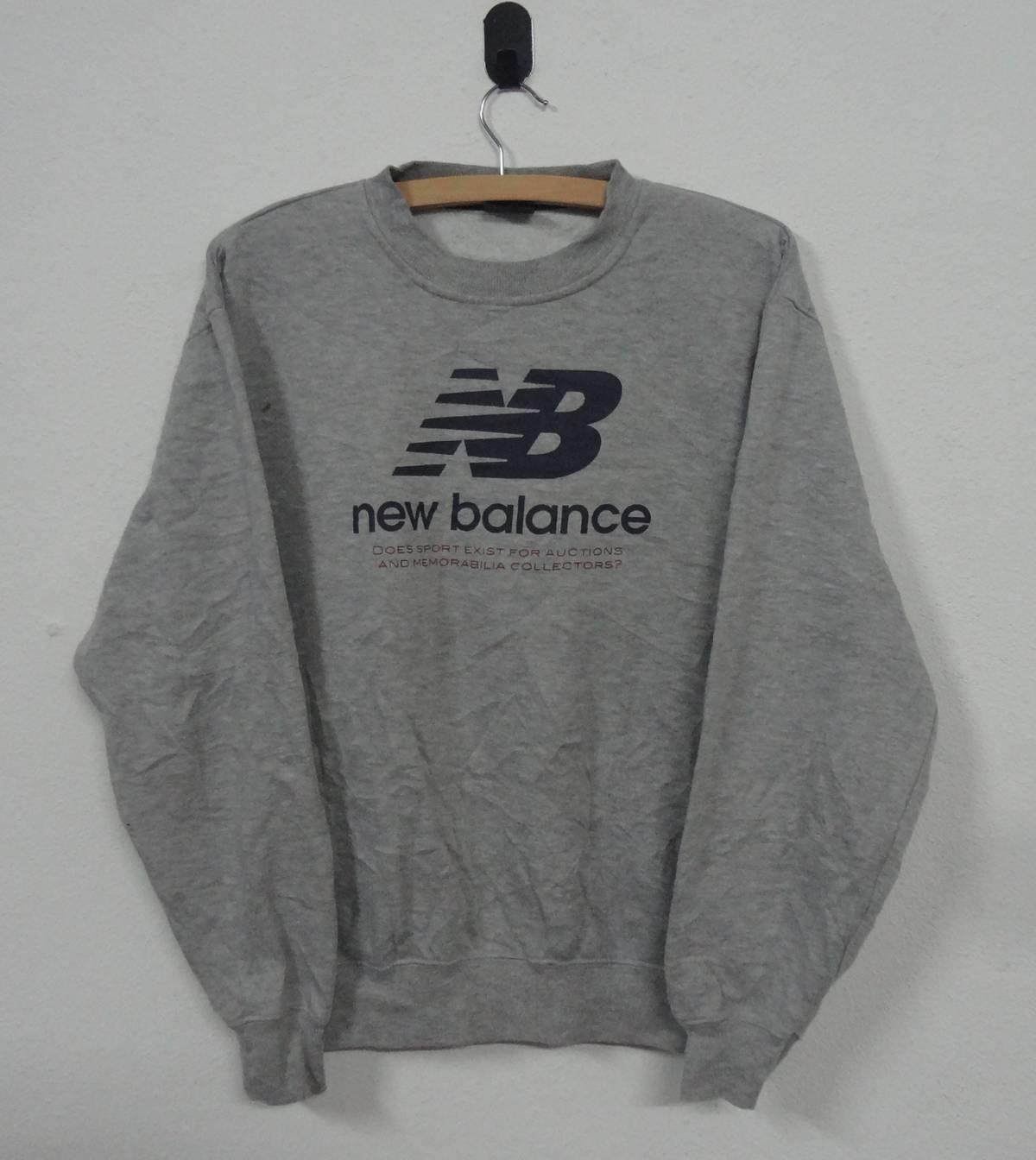 90's New Balance Sweatshirt Gray NB Jumper Pullover Medium Size RQJ8IA2K