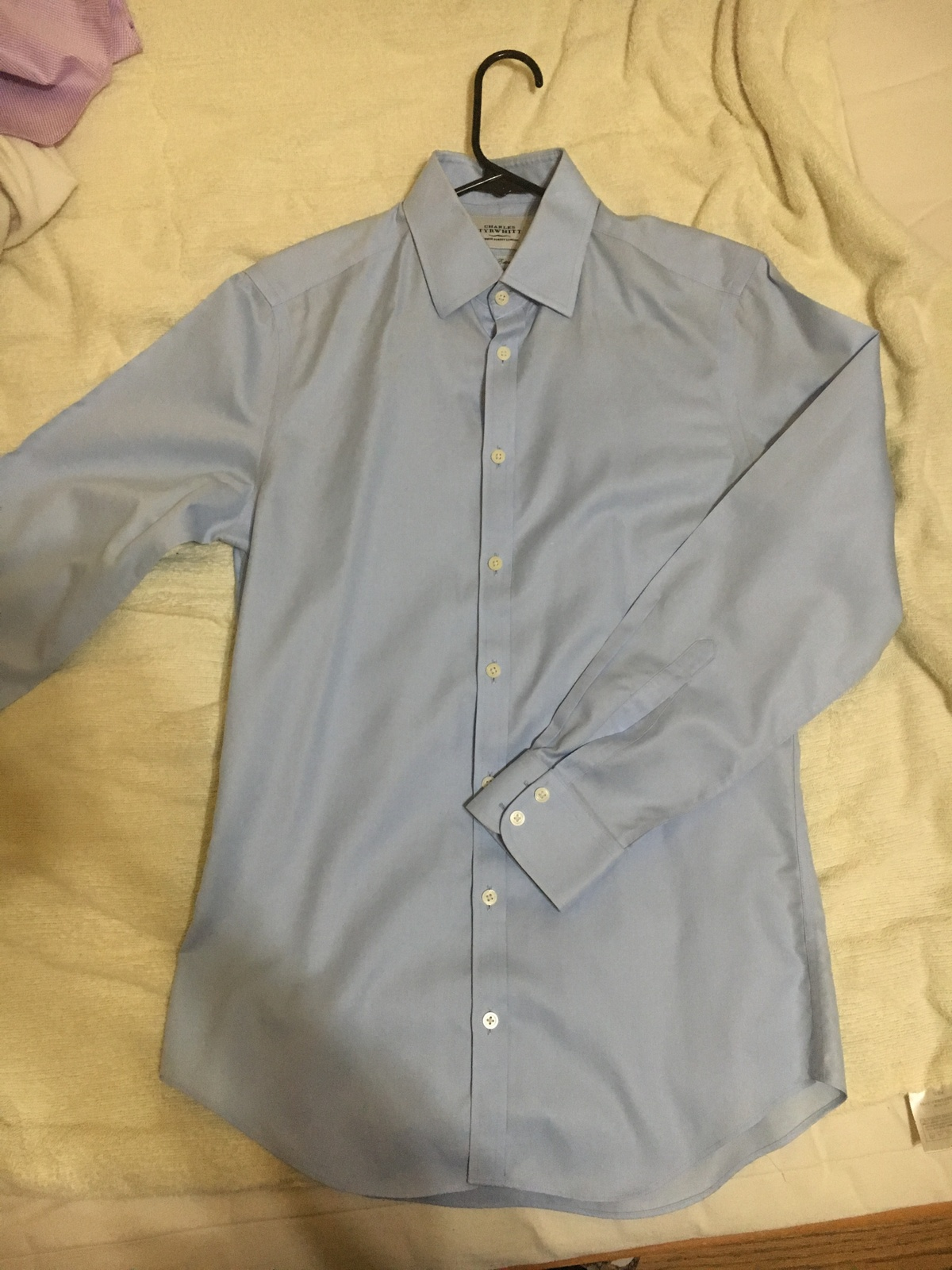 charles tyrwhitt non iron light blue dress shirt extra