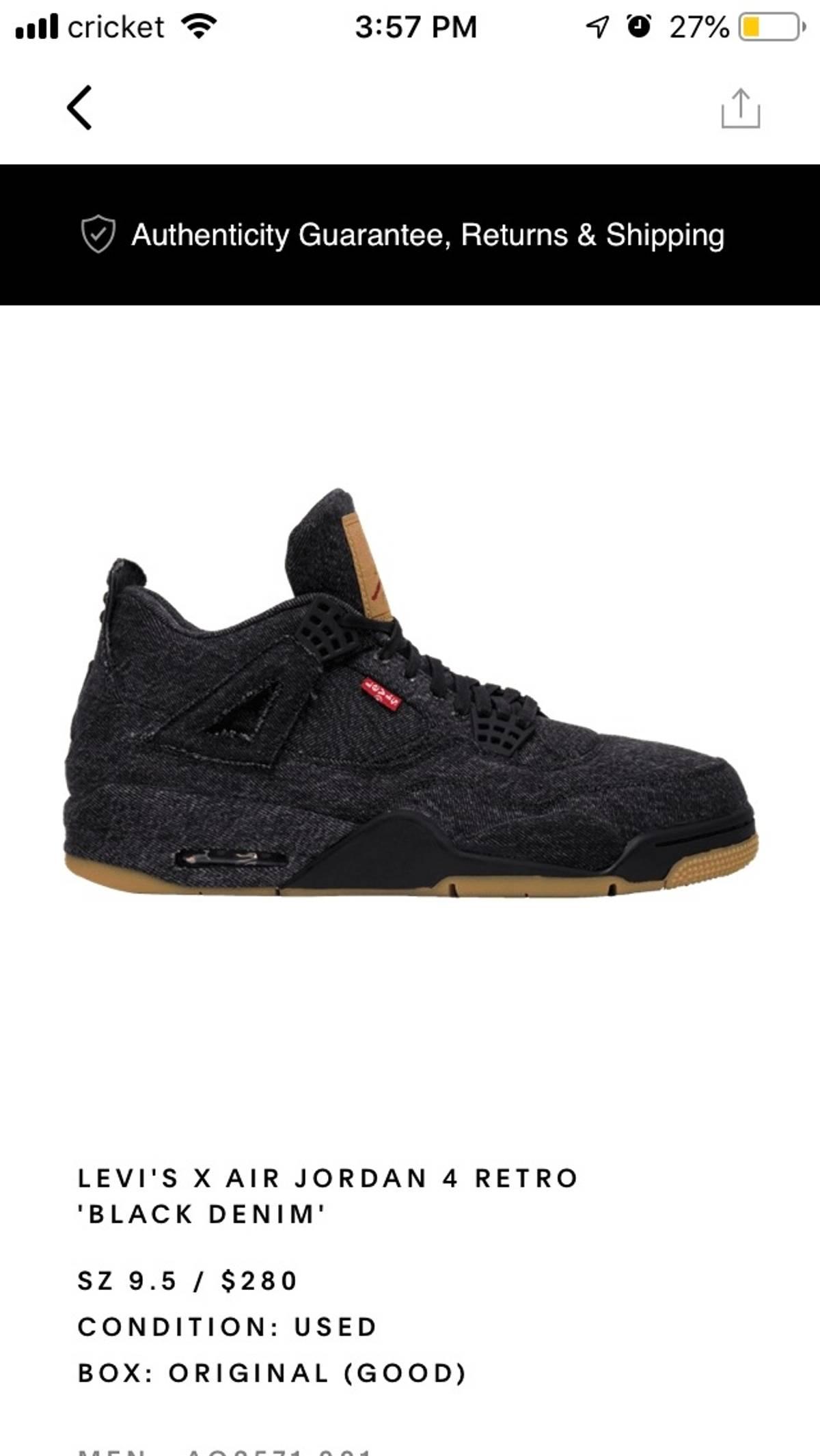 low priced f4167 7a08d Jordan Brand × Levi's Levi X Air Jordan 4 Black Size 9.5 $280