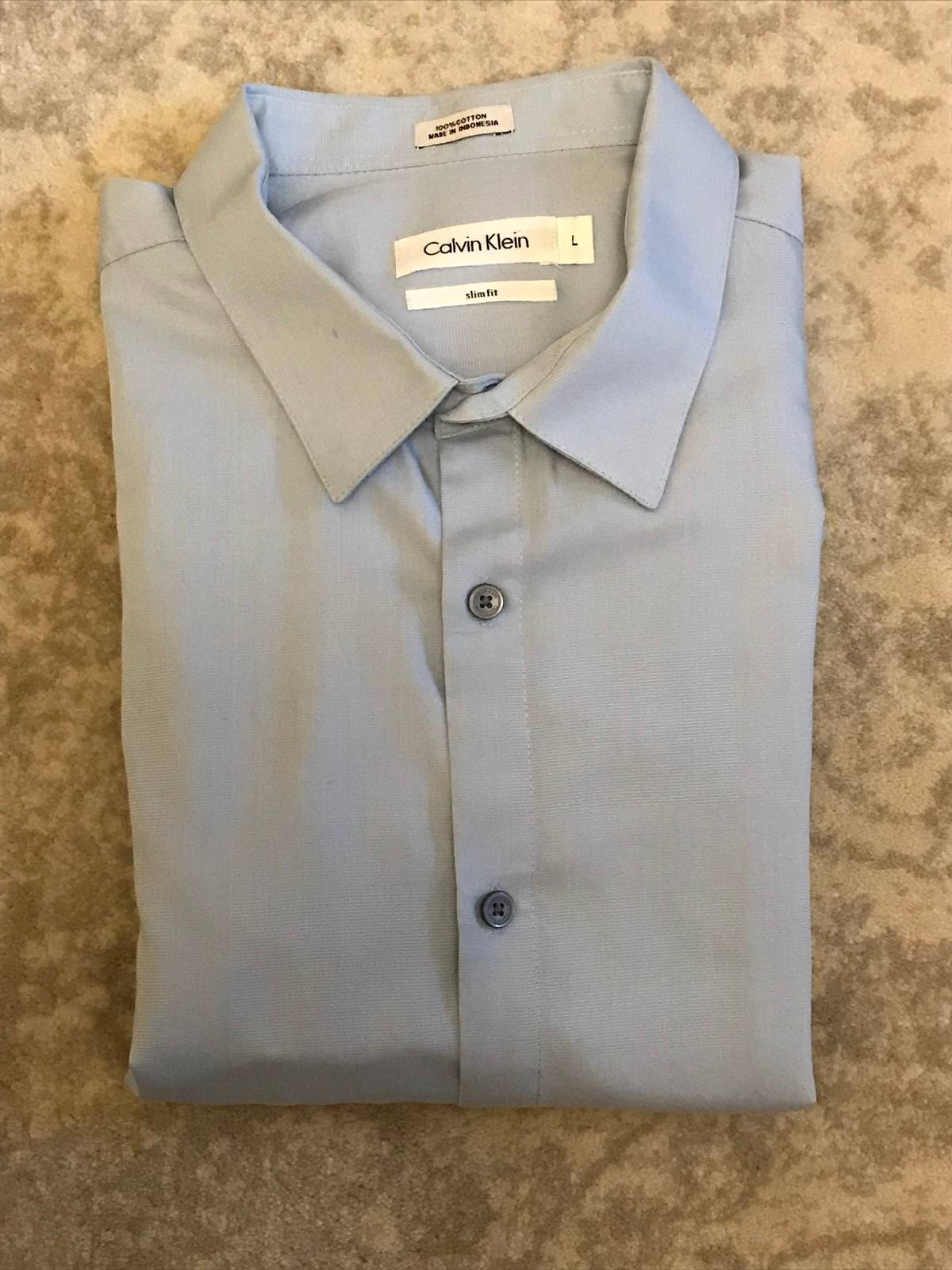 Calvin Klein Mint Calvin Klein Mens Light Blue Dress Shirt Large