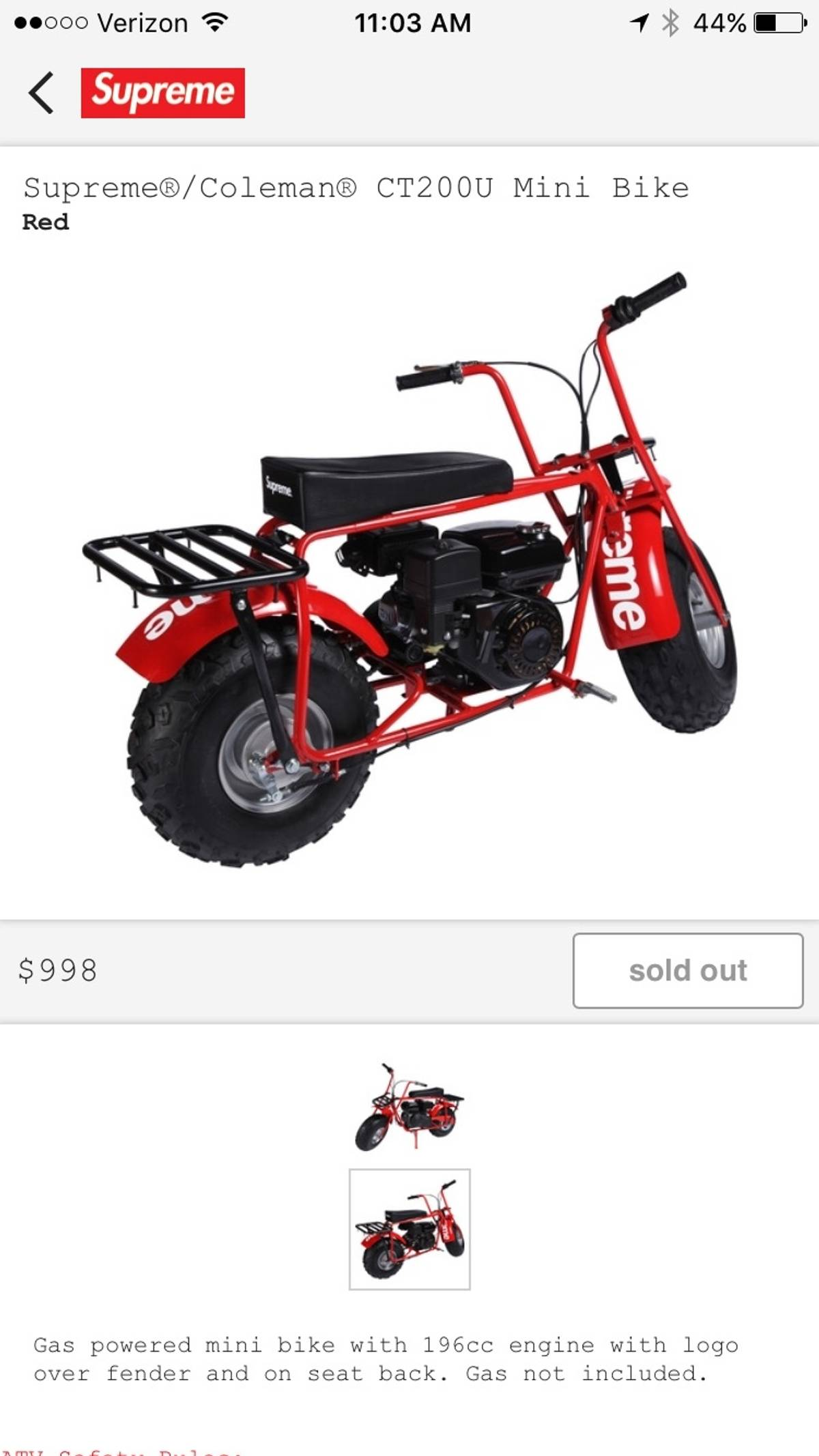 new arrival 2ab56 e5c77 Supreme ×. Supreme X Coleman CT200u Mini Bike