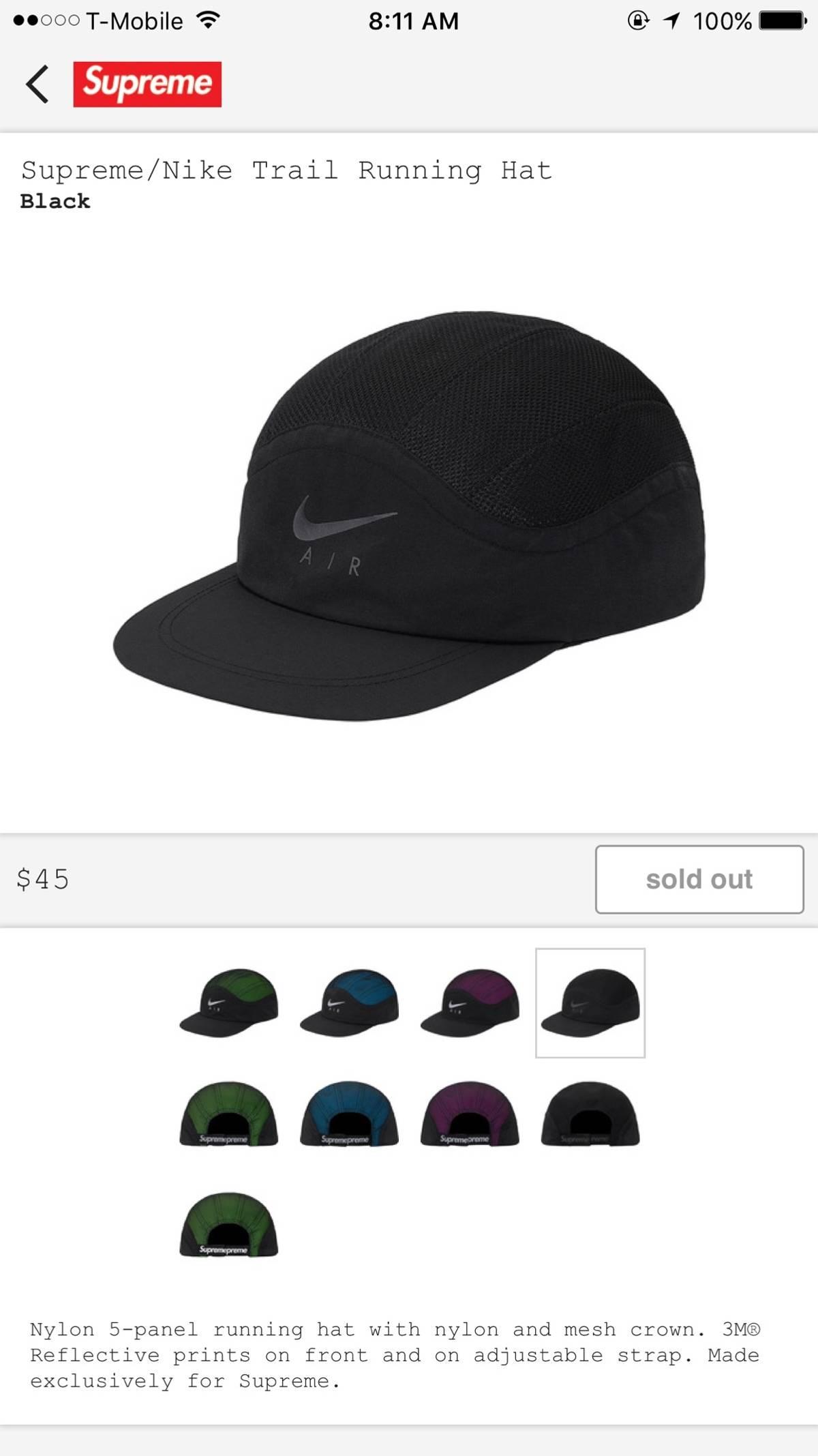 bbc8b97c Supreme × Nike ×. Supreme X Nike Trail Running Hat