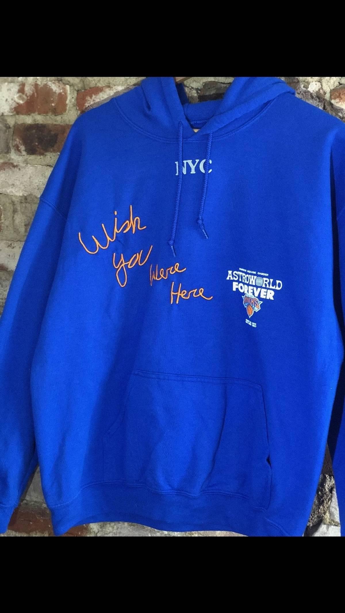 96af5cb45290 Travis Scott ×. Travis Scott Astroworld NY Knicks Blue Hoodie MSG Exclusive