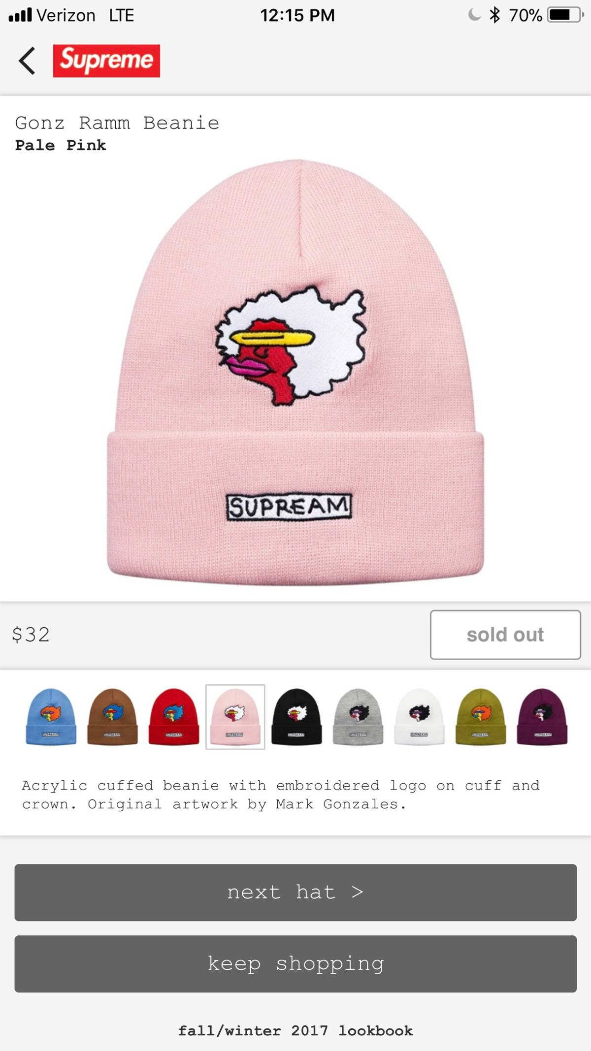 62e7d8deede Supreme Gonz Ramm Beanie Pale Pink Size one size - Hats for Sale ...