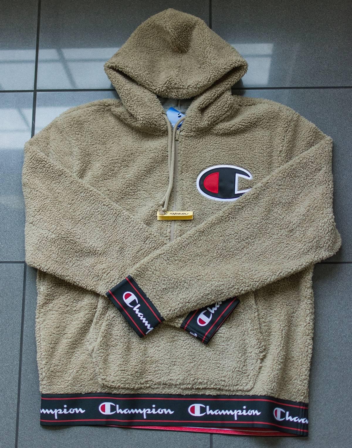 223bbd194d25 Champion Sherpa Half Zip Pullover Hoodie - Khaki Tan (IN HAND) Size l -  Sweatshirts   Hoodies for Sale - Grailed