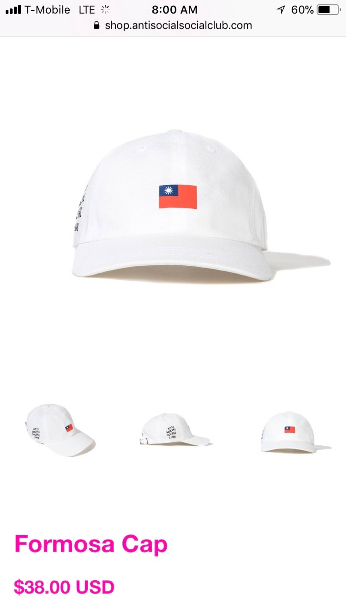 4d63c5fde43 Antisocial Social Club Formosa Hat White Size one size - Hats for Sale -  Grailed