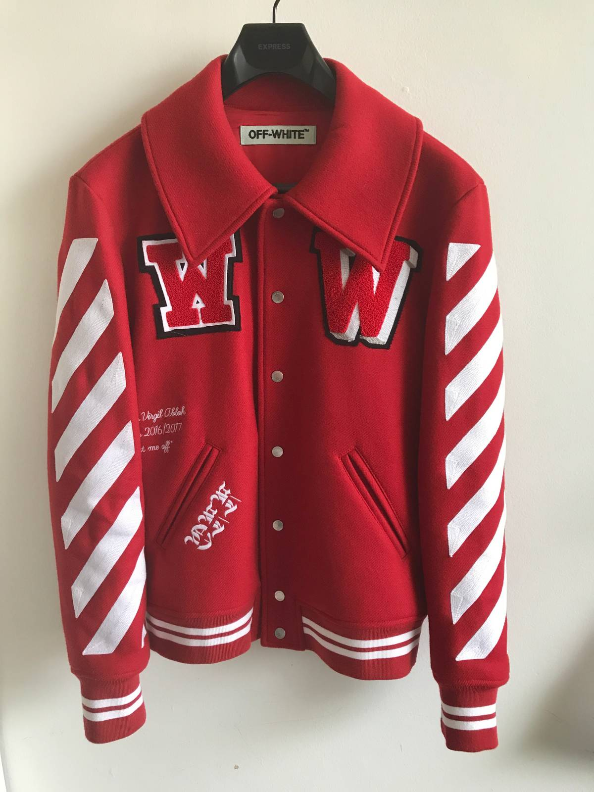 d6957a1c4199 Off-White Off-White Embroidered Virgin Wool-Blend Varsity Jacket Size xs -  Light Jackets for Sale - Grailed