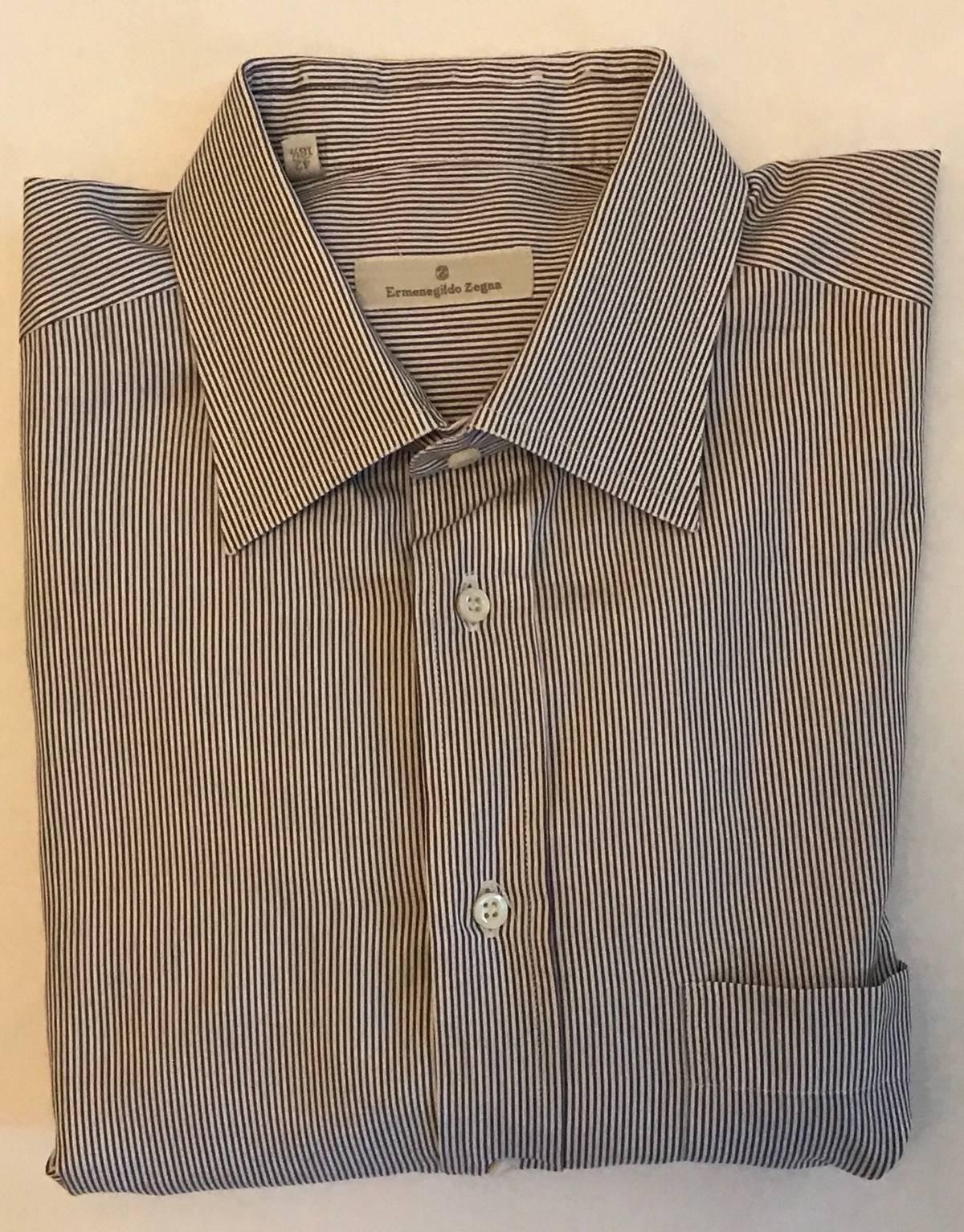 Ermenegildo Zegna Ermenegildo Zegna Striped All Cotton Dress Shirt