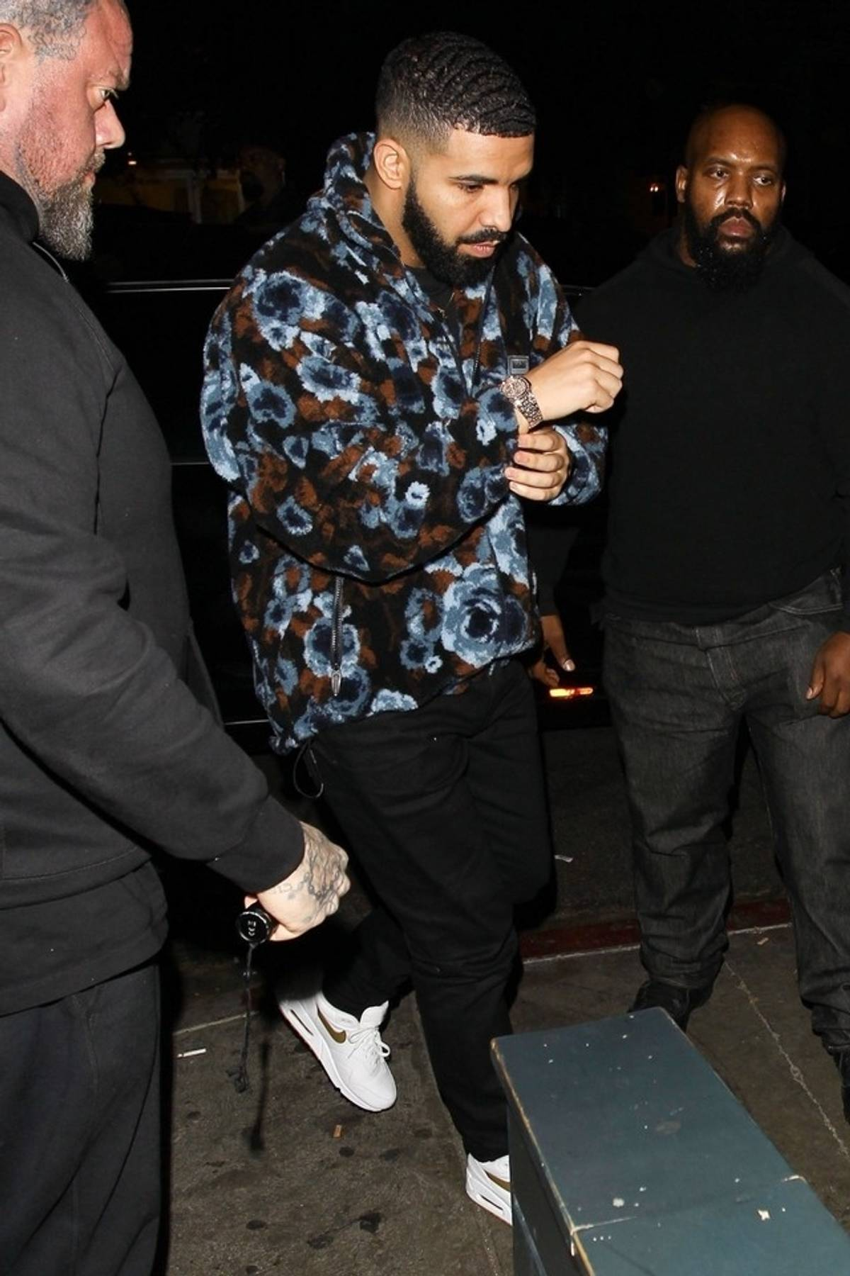 Drake wearing Nike Air Max 1 Sneakers, Martine Rose Blue