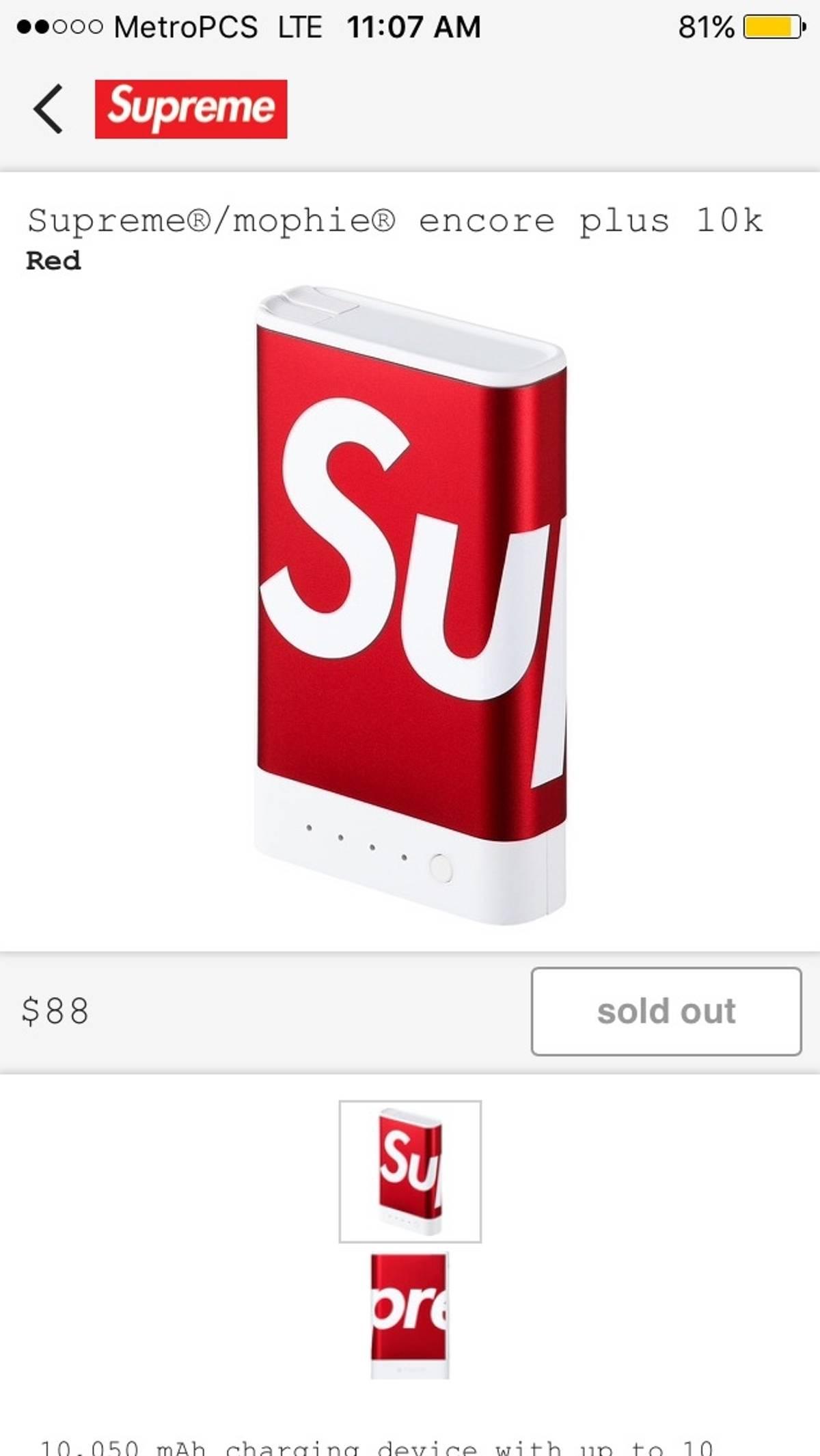 online store 5ad43 3defc Mophie × Supreme Supreme/ Mophie Encore Plus 10k Size One Size $110