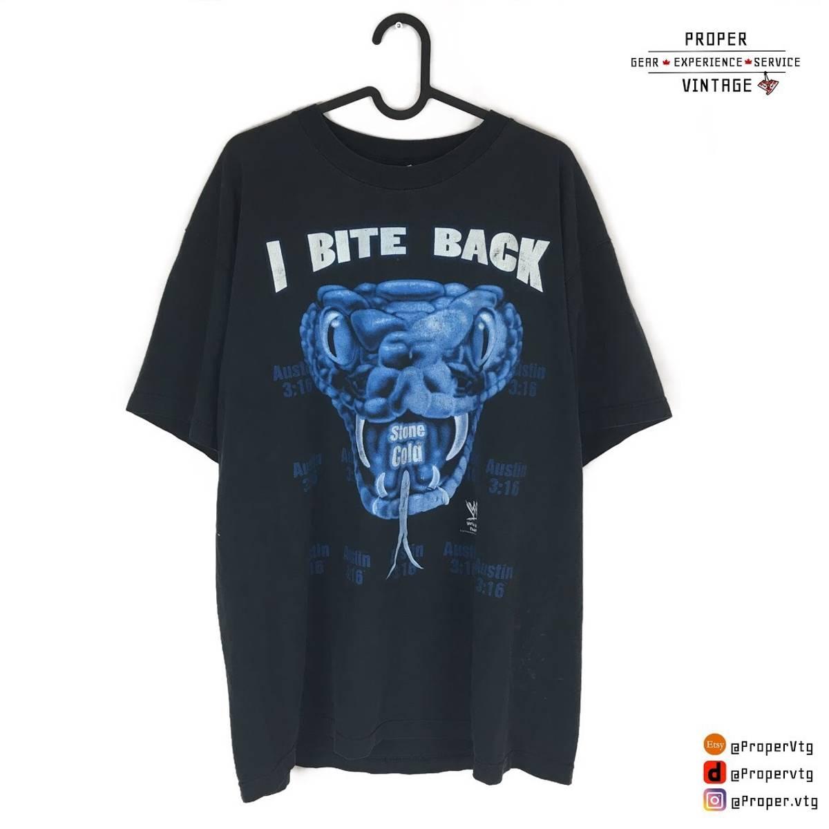 5dc345da Wwe ×. Vintage Stone Cold Steve Austin I Bite Back Snake Short Sleeve T  Shirt Tee 80s ...
