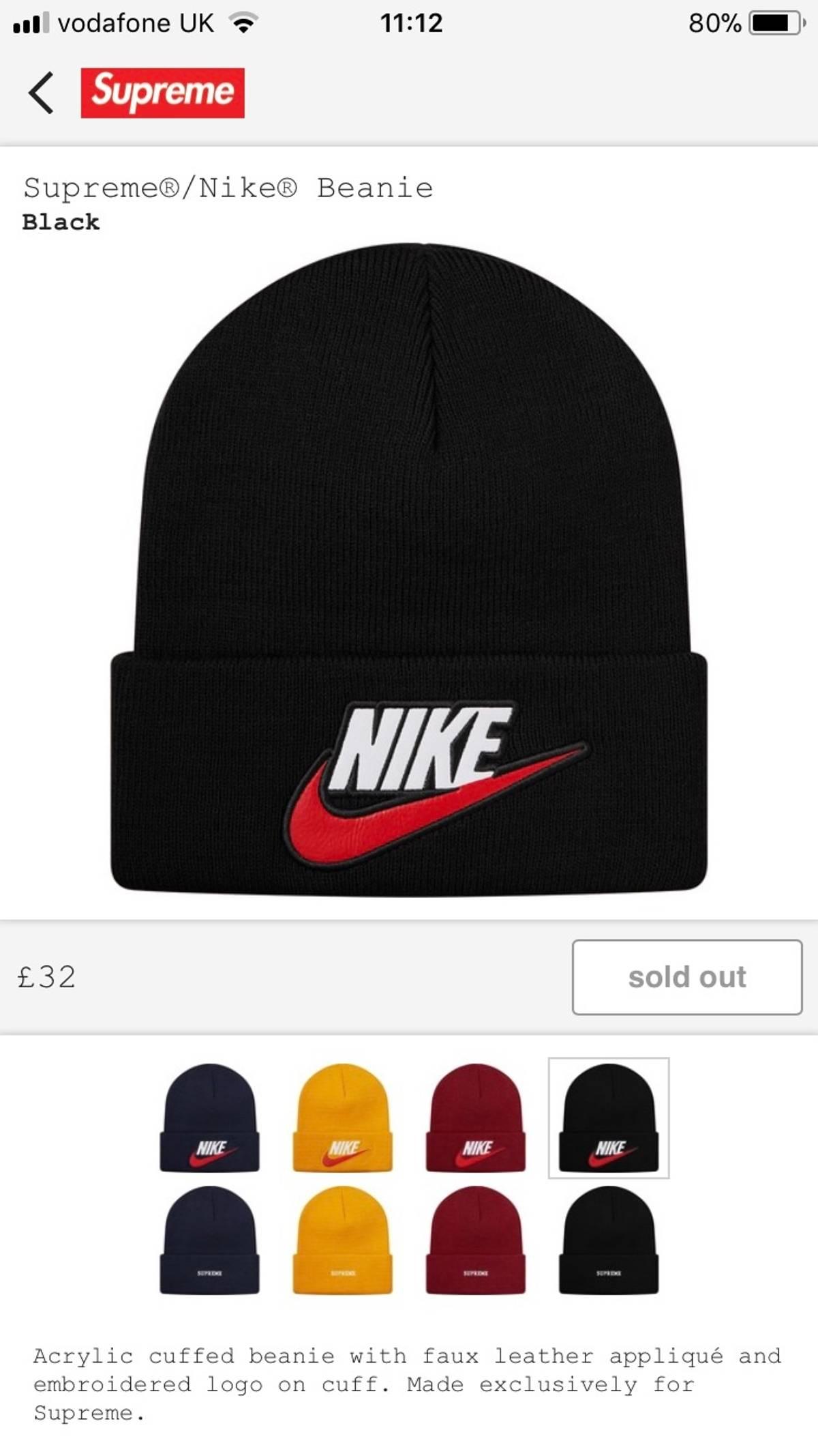 7684075a2 Nike × Supreme Supreme X Nike Beanie Size One Size $95