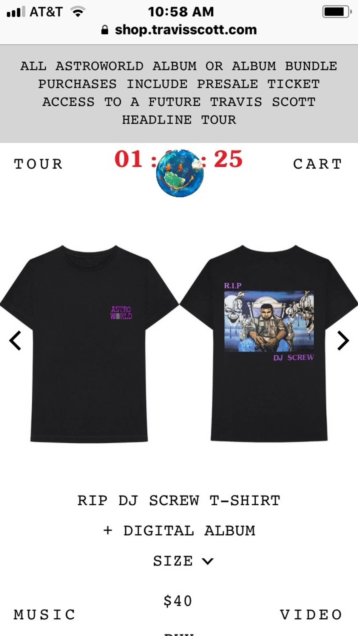 Travis Scott Astroworld Rip Dj Screw T Shirt Size L $92