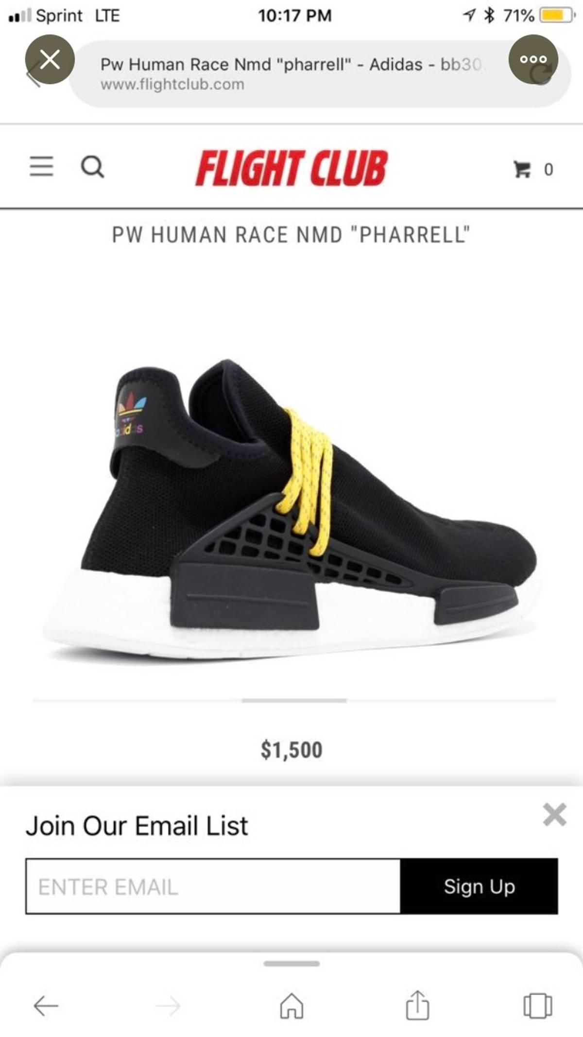 the latest 808a3 731d0 Adidas × Pharrell Adidas Nmd Hu Pharrell Human Species Black Size 7 $465