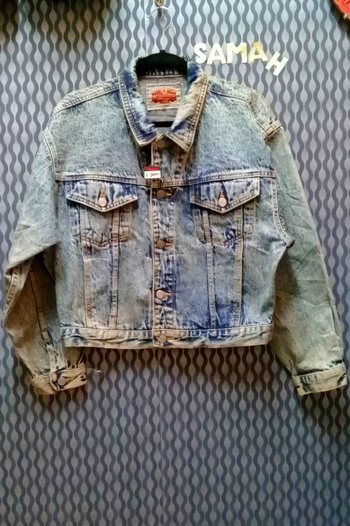 4e65b446 Vintage Vintage Big John Denim Acid Wash Jacket The Back Is A Adjust ...