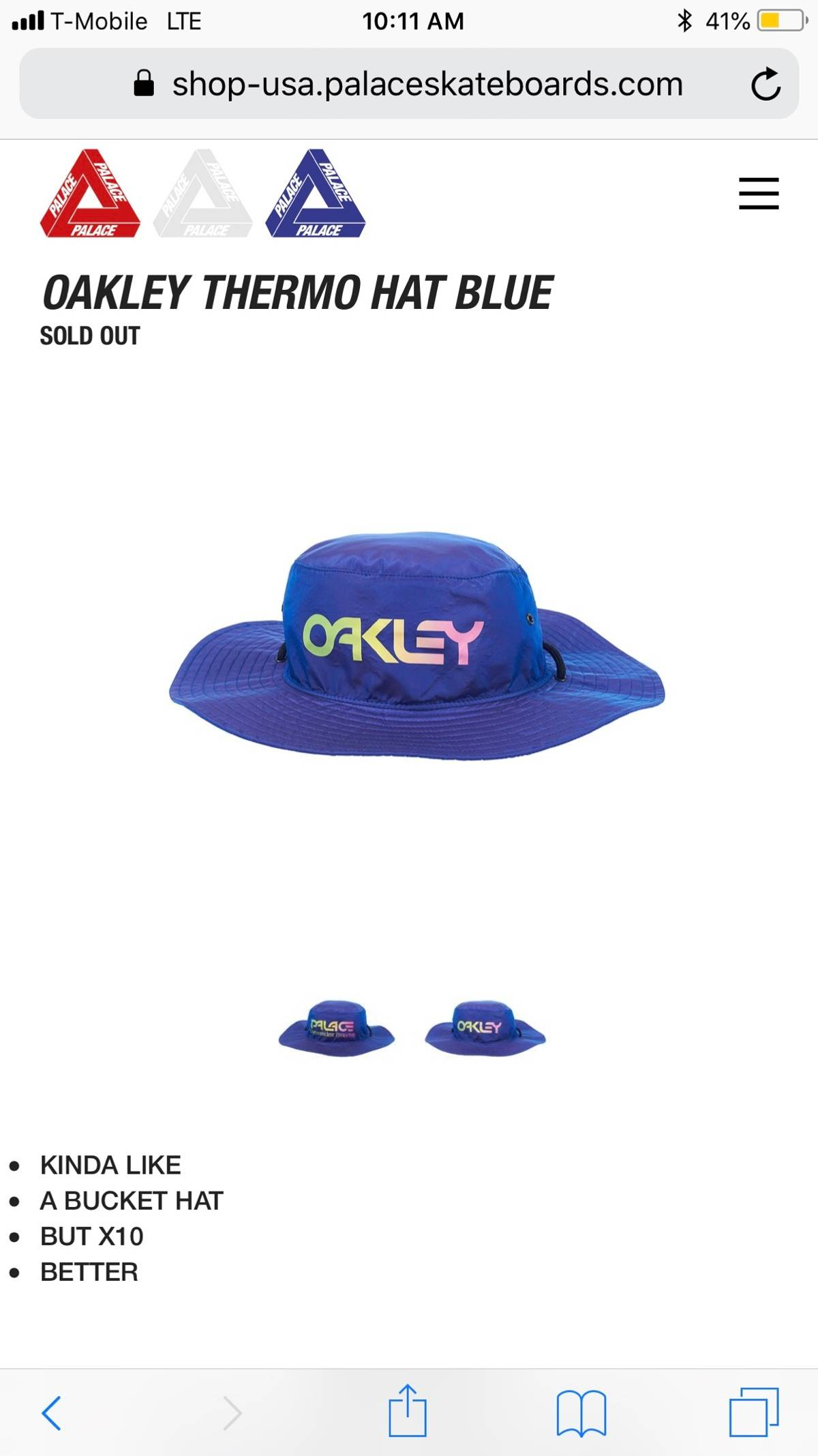 91431d03 Palace × Oakley ×. Oakley Thermo Hat Blue