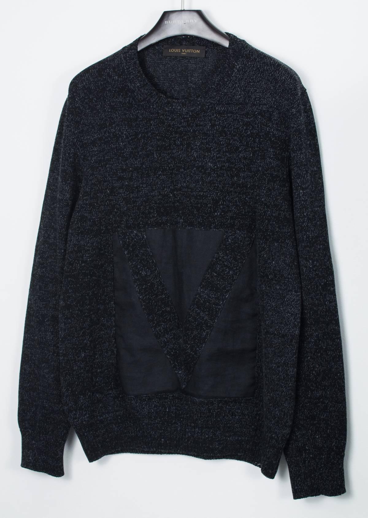 Louis Vuitton Luxury Mens Louis Vuitton Knit Logo V Sweater Jumper