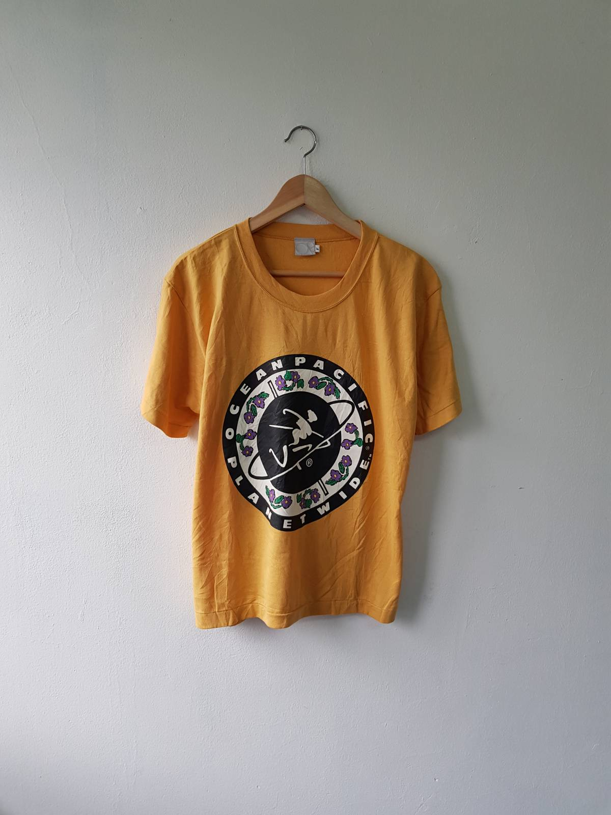 Surf Style × Vintage Rare Vintage 80s Op Ocean Pacific Planet Wide Giant Round Logo Chest Surfing Gear Printed Graphic T Shirt Size F Size M $36