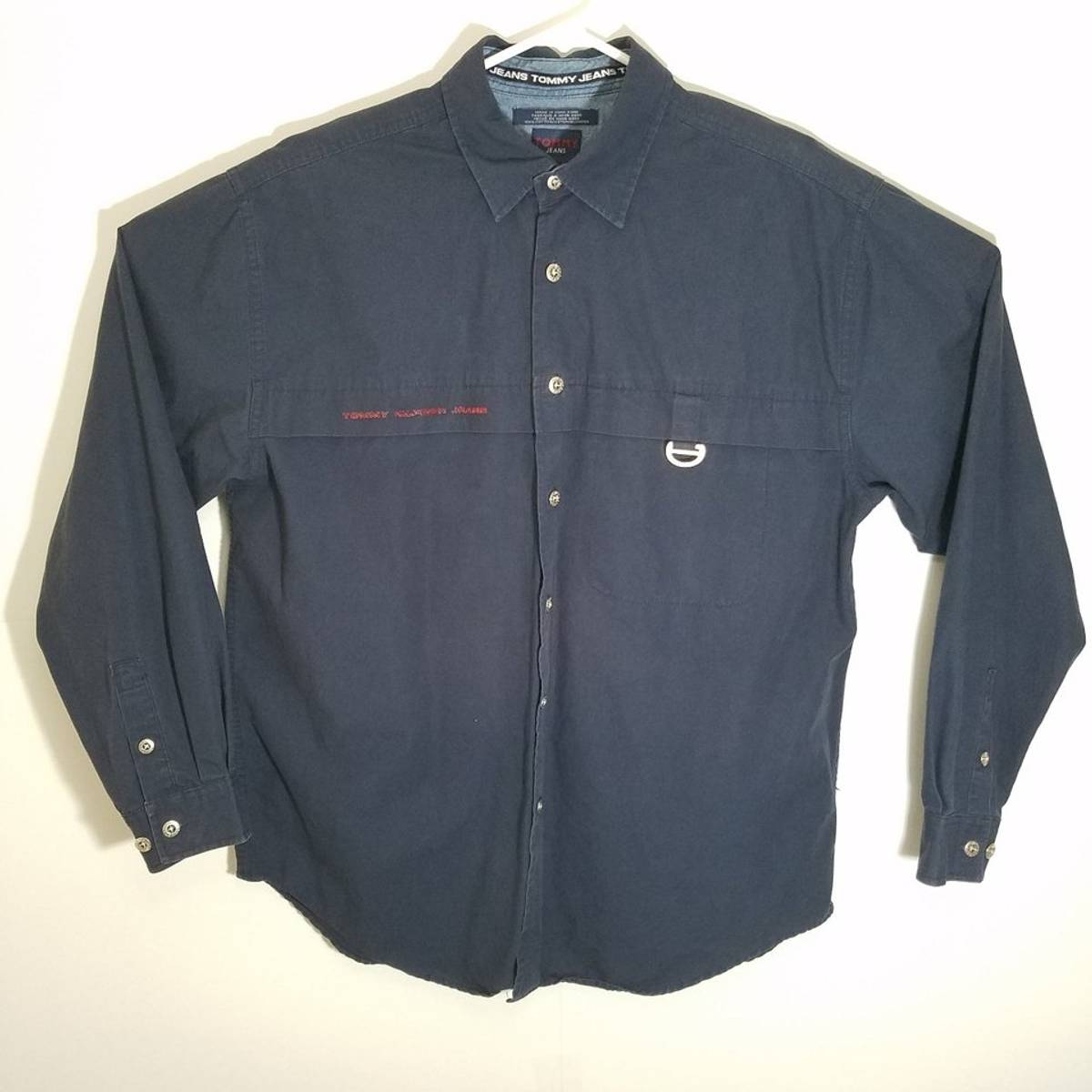 bd637ec3 Tommy Hilfiger ×. Vintage Tommy Hilfiger Tommy Jean's Mens Large XL Dark  Navy Blue Button Down Long ...