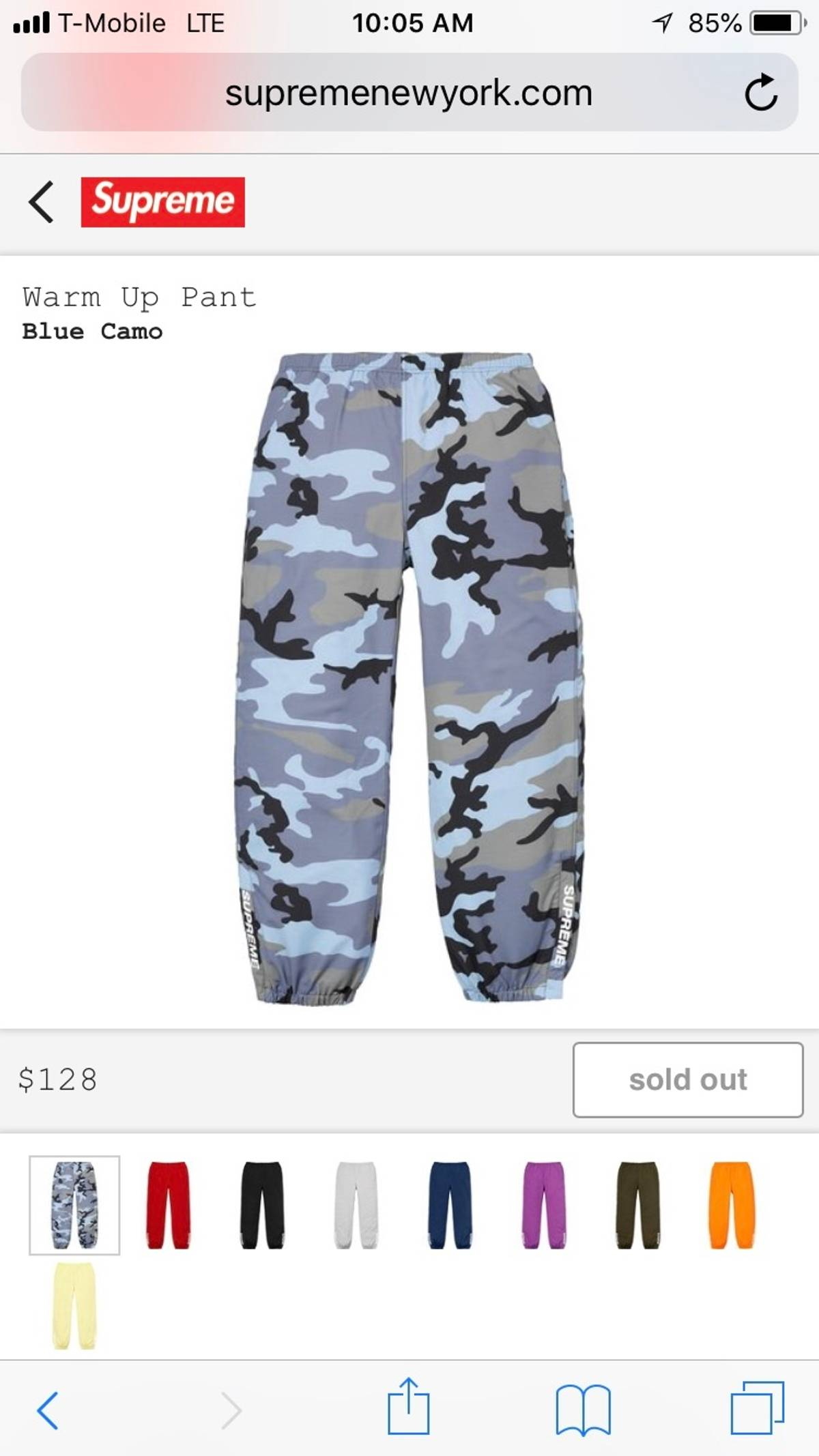 32afdf9a40e7c Supreme Supreme Blue Camo Warm Up Pants | Grailed