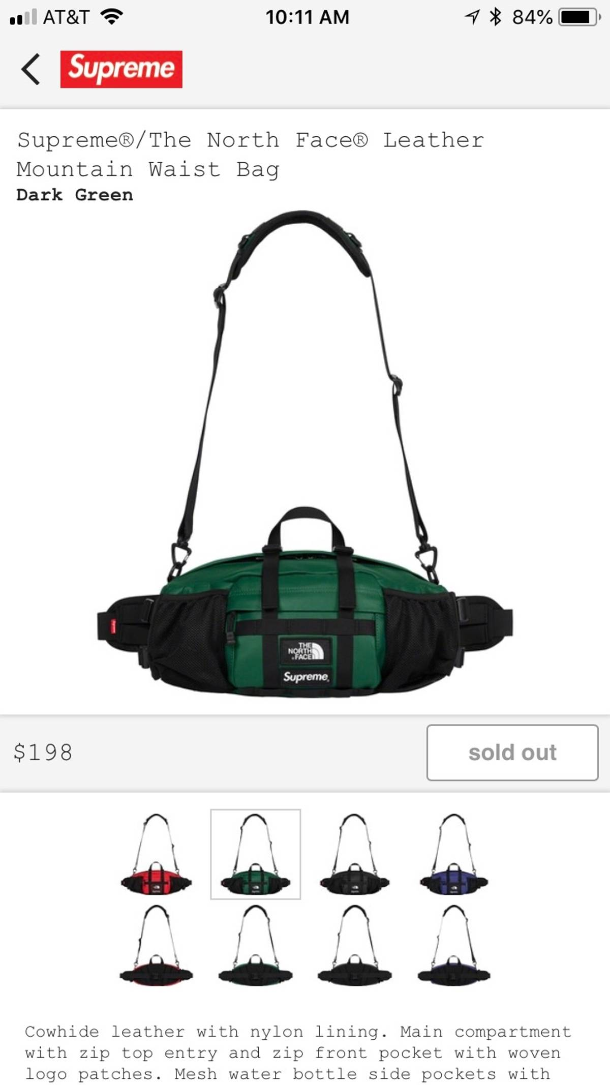 102033671 Supreme × The North Face Supreme X Tnf Leather Mountain Waist Bag Green  Size One Size $278