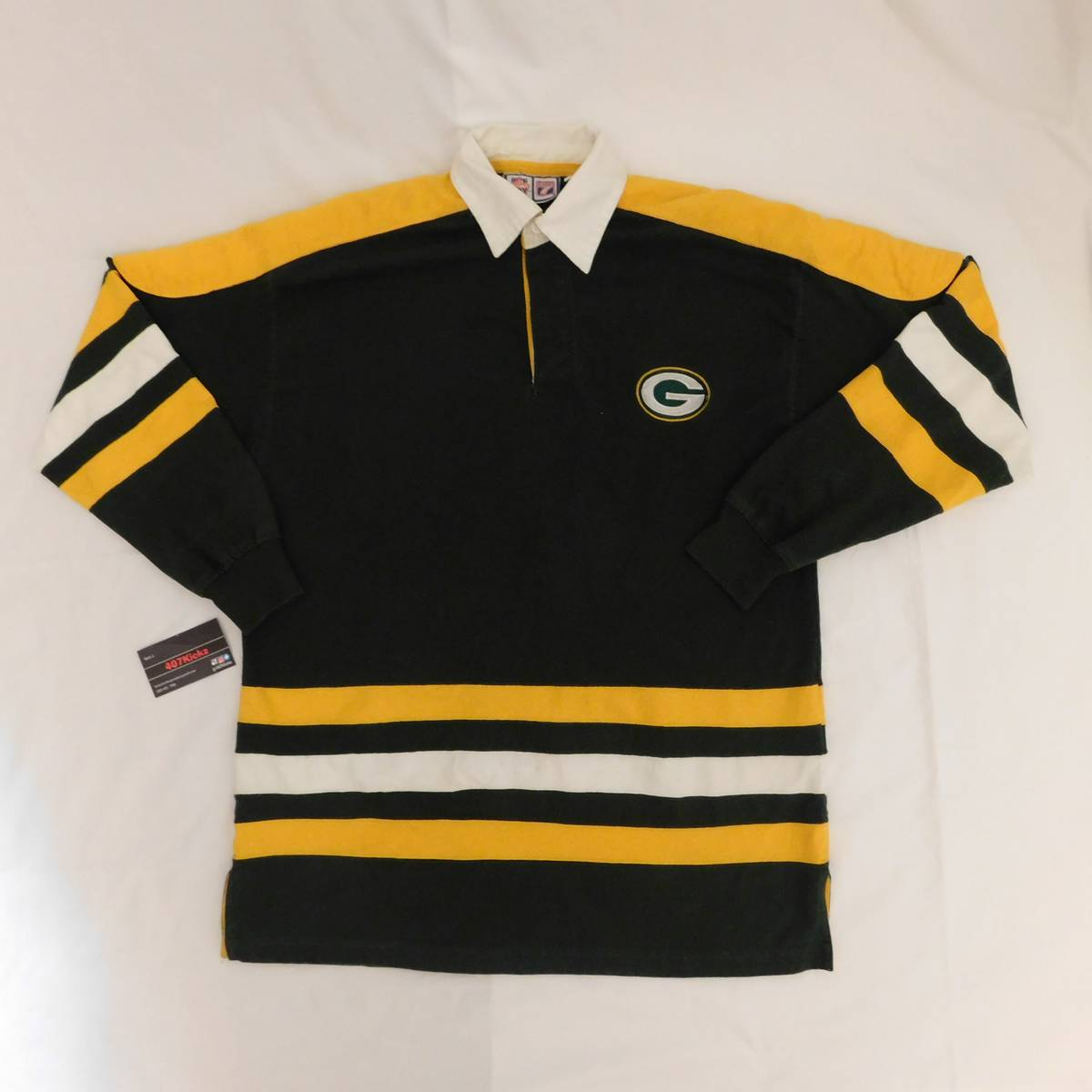 Nfl Vintage Green Bay Packers Long Sleeve Collared Polo Size M