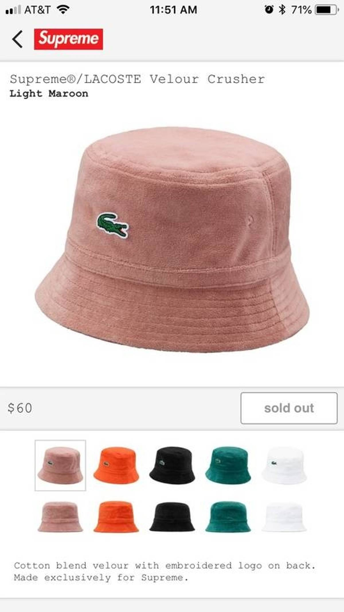 e6c38effd1ec6a Supreme Supreme X Lacoste Velvet Bucket Hat, Light Maroon   Grailed