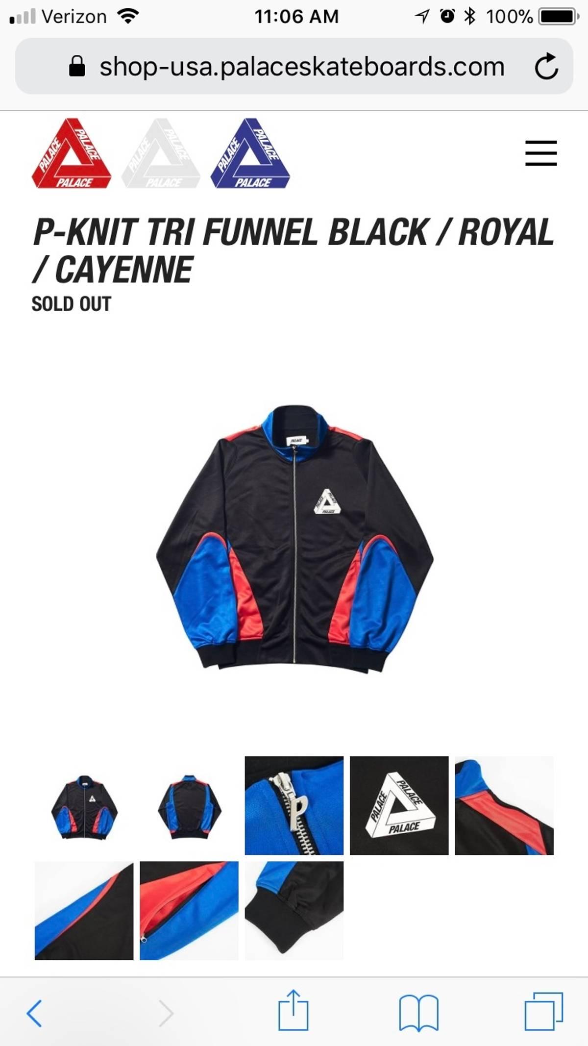 14c0857ac047 Palace P-Knit Tri Funnel Track Jacket Black Royal Cayenne Size xl - Light  Jackets for Sale - Grailed